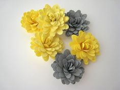 Yellow and Grey Paper Flowers - Wedding Decorations - Table Decor - Handmade - QTY: 30