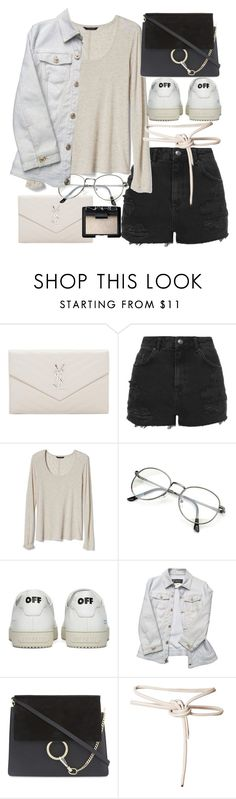 """Untitled #20940"" by florencia95 ❤ liked on Polyvore featuring Yves Saint Laurent, Topshop, Banana Republic, Off-White, Versace, Chloé, Leka and NARS Cosmetics"