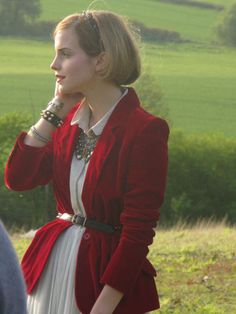 Trying to figure out how to wear my red velvet blazer. Emma, lovely as always.