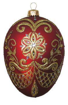 Edward Bar PYSANKA RED egg glass Christmas ornament