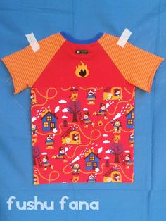 FushuFana: Ranglán de bomberos / Firemen Raglan T-shirt (Short Sleeve, Ottobre design)