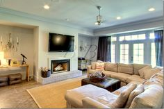 basement media room- pale blue grey and linen sofa?