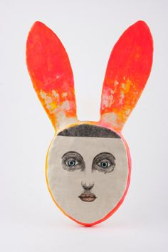 Girl with Rabbit Ears Portrait Mixed Media  by DoubleFoxStudio, $350.00