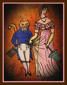 Pride and Purrjudice Cat Dresses, Artworks, Pride, Brown, Painting, Image, Art Pieces, Painting Art, Paintings