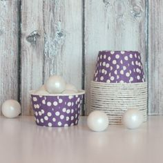 purple polka dot candy cups
