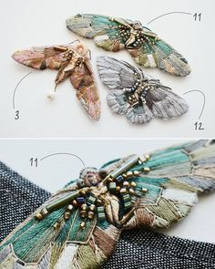 New series: 3 fairies, 4 birds, 6 butterflies! Embroidery Leaf, Embroidery Hearts, Embroidery Monogram, Bead Embroidery Jewelry, Hand Embroidery Designs, Embroidery Stitches, Embroidery Patterns, Art Textile, Fabric Birds