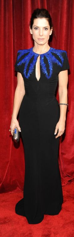 Electric-blue embellishments added drama to the Alexander McQueen dress Sandra Bullock sported at the 2010 SAG Awards.