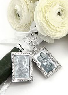 They say a picture is worth a thousand words.  This set of 2 photo charms is  elegantly crafted and each hangs from a beautiful satin ribbon to tie to your bouquet. These charms allow you to add photographs of the people closest to your heart.  What a wonderful way to include pictures of  those who could not attend your special day to be present in spirit.  Select one jeweled letter charm to personalize this elegant charm set.  After your special day these becom...