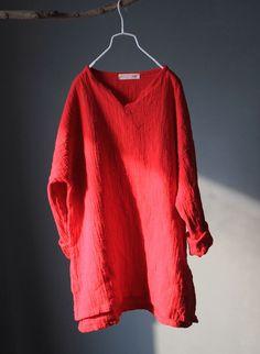 Long Sleeve Linen Top in Red