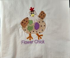 Embroidered dish towel, chicken towel, flour sack towel, tea towel, kitchen towel, Flower Chick, chickens by jessiemae on Etsy