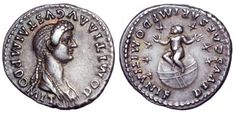Coin of Domitia, Roman empress AD 82-3, showing deified infant son seated on a globe surrounded by the seven stars of the Ursa Major.