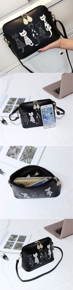 Women Shell Cartoon Cat Lovely Shoulder Bag Crossbody Bags