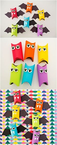 Cute Halloween craft for kids. Make these as Halloween … Rainbow paper tube bats. Nice Halloween craft for kids. Make these as Halloween favors or colorful decorations! Theme Halloween, Halloween Favors, Halloween Bats, Paper Halloween, Halloween Kids Decorations, Halloween Crafts For Kids To Make, Halloween Activities For Kids, Halloween Crafts For Kindergarten, Halloween Costume Kids