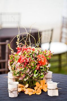 Malloy Events at Private Residence on Lake Sunapee, NH. reception tables in antique hydrangea and red mokara orchids