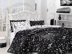 Full Double Queen Size Black White Music Written Music Aide-Memoire Black Duvet Cover Set With 7 Piece (Quilt included) (Full Double/Queen) Duvet Bedding, Bedding Sets, Comforter Set, Disney Mickey Mouse, Pottery Barn, Black Duvet Cover, Ikea, Shabby, Composition Design