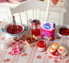 Miniature Making Strawberry Jam Set by CuteinMiniature on Etsy
