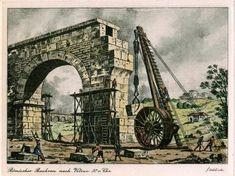 Roman construction crane, after Vitruvius, 30 BC.