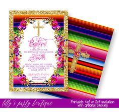 Baptism Fiesta Invitation, Fiesta Baptism Invitation, Mexican Fiesta Baptism Invitation- YOU PRINT by LillysPartyBoutique on Etsy https://www.etsy.com/listing/508692501/baptism-fiesta-invitation-fiesta-baptism