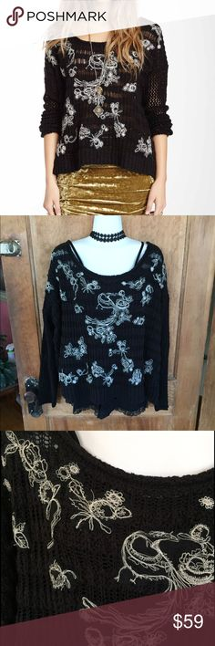 Free People Machine Embroidered Pullover Beautiful sweater with white embroidery in front, semi-sheer, generous fit, can be worn off shoulder. Size medium, could easily fit a large as well. Fabric content/care in last pic. EUC, only worn once, like new. No trades please, reasonable offers considered ❤💕❣️ Free People Sweaters Crew & Scoop Necks