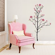 Young Magnolia Tree Wall Decal - Warm Grey, Lime-Tree Green, Pink, Regular