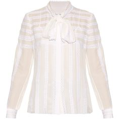 Oscar De La Renta Long-sleeved lace-trimmed silk blouse ($2,190) ❤ liked on Polyvore featuring tops, blouses, white, pussy bow blouse, white top, bow tie neck blouse, striped top and silk blouse