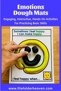 These Emotions Play Dough Mats focus on identifying emotions. Students identify the emotion shown, make it out of play dough and talk about it, by answering the prompt at the bottom of each mat. Motor Activities, Hands On Activities, Social Work, Social Skills, My Emotions, Feelings, Classroom Behavior Management, Preschool Themes, Make Happy