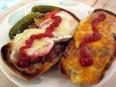 zapekanka slovak czech toasted bread rolls with cheese mushrooms bacon ham and onions