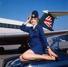 A British Airways air hostess in September 1972