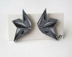 GEOMETRIC MONOCHROME earrings // unique hand-drawn shrink plastic stud earrings, jewelry, jewellery, one of a kind, hypoallergenic