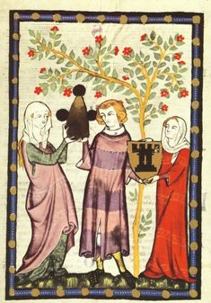 Herr Otto vom Turne (of Lucerne, a late addition, fl. Medieval Fashion, Medieval Clothing, Medieval Times, Medieval Art, Medieval Manuscript, Illuminated Manuscript, Renaissance, Middle Ages Clothing, 14th Century Clothing
