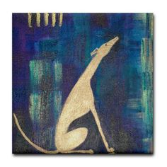 "Sitting Greyhound Tile Coaster by CafePress . $10.50. 4.25"" x 4.25"" and 1/6-inch thick. Ceramic. Not for use with abrasive cups and mugs. Four felt pads protect your furniture from scratches. Dishwasher safe. Greyhound detail from original painting by artist Karen Marion"
