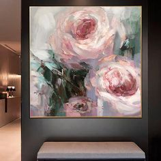 Abstract Flower Art, Flower Painting Canvas, Pink Painting, Abstract Canvas, Flowers On Canvas, Flower Artwork, Large Painting, Modern Art Paintings, Abstract Paintings