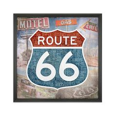 Fine art print featuring the words and imagery of Americas Route 66. The highway sign features the names of the eight states and 95 cities/towns