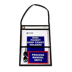 "C-LINE PRODUCTS, INC Shop Ticket Holders, w/ Hanging Strap, 9""x12"", 15 per Pack, Clear"