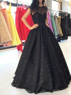Sparkly Prom Dress, Prom Dress Prom Dresses,Illusion Neck Black Ball Gown Prom Dresses with Sparkly Sequins These 2020 prom dresses include everything from sophisticated long prom gowns to short party dresses for prom. Formal Dresses For Women, Trendy Dresses, Formal Gowns, Cheap Dresses, Dress Formal, Short Dresses, Discount Dresses, Sparkly Prom Dresses, Beaded Prom Dress