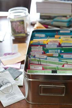 organizing seeds...i want to have a garden ♥