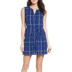 Women's Bb Dakota Presley Shirtdress ($59) ❤ liked on Polyvore featuring dresses, indigo, tartan shirt dress, bb dakota dresses, tartan plaid dress, plaid dress and blue shirt dress