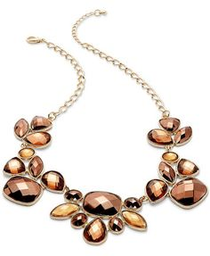 INC International Concepts Necklace, Gold-Tone Bronze Beaded Frontal Necklace | macys.com