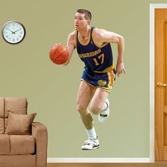 Chris Mullin REAL.BIG. Fathead – Peel & Stick Wall Graphic | Golden State Warrior Wall Decal | Sports Home Decor