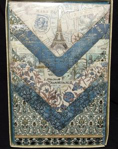 Punch Studio Eiffel Tower Paris Vtg World Map Flower Note/Post Cards & Envelopes