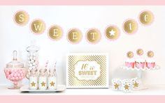 """Gold & Glitter Sweet Sixteen Party Kit. Celebrate your Sweet 16 with a little sparkle and shine with our Sweet Sixteen Party Kit. Each Kit includes Metallic Foil and Glittery Gold items such as banners, stickers and cupcake toppers for dressing up your dessert and candy buffet table.  Kit Includes: 1 Metallic Foil Scallop Banner spelling out SWEET 16 as shown 1 Metallic Gold Table Sign printed with """"16 is Sweet, Please Take a Treat"""" (or age chosen) 25 Striped Straws  24 Cupcake..."""
