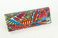 VINTAGE Psychedelic Print Paisley Bright Hippie Drawing Glasses Sunglasses Case Zeiss
