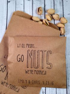 Go Nuts Wedding Favor Bag - Pistachio Favors - Candied Nuts -Pecan Favors- Nut & Snack Buffet - Peanut Favor - 25 Bags - Hochzeit Wedding Favors And Gifts, Coffee Wedding Favors, Honey Wedding Favors, Winter Wedding Favors, Creative Wedding Favors, Inexpensive Wedding Favors, Elegant Wedding Favors, Edible Wedding Favors, Wedding Favor Bags