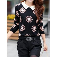 Peter Pan Collar Long Sleeves Floral Print Rhinestoned Sweater For Women