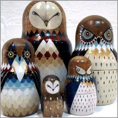 Babushka Owl Dolls by MyOwlBarn, ➕➖Russian Nesting Dolls / Matryoshka Folk Art➕More Pins Like This At FOSTERGINGER @ Pinterest ➖✖️