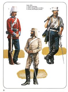 India,1858: 1:Private,97th Regiment.2:Officer,Bengal Horse Artillery.3:Private,6th Dragoons Guards.