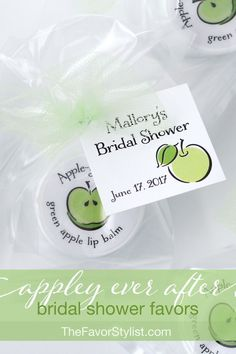 "Appley Ever After favors like our appletini lip balms help you to share the ""flavor"" of your apple themed day. Spa Party Favors, Bachelorette Party Favors, Bridal Shower Favors, Bridal Showers, Baby Showers, Wedding Favors Unlimited, Wedding Favors Cheap, Apple Invitation, Apple Theme"