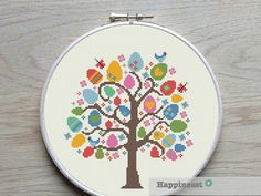 Cross stitch pattern Easter tree. Buy 4 patterns and get 25% discount! Place 4 patterns in your cart and enter the code HAPPINESST3and1free at checkout and you get 25% discount. The pattern comes as a PDF file that youll will be able to download immediately after purchase. In addition the PDF files are available in you Etsy account, under My Account and then Purchase after payment has been cleared. You get a pattern in colorblocks and symbols, a pattern in black and white symbols, and a…