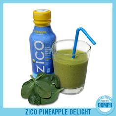 ZICO Pineapple Delight 169 1 Cup ZICO Pineapple Pure Premium Coconut Water ½ Cup Ice ½ Cup Spinach (for Optional Health Kick! Yummy Smoothie Recipes, Juicer Recipes, Healthy Smoothies, Yummy Drinks, Healthy Drinks, Healthy Food, Zico Coconut Water, Coconut Water Drinks, Pineapple Delight