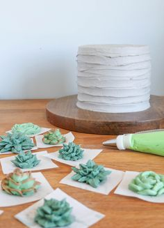 How to Make the World's Most Succulent Cake We seriously can't stop swooning over Erin Gardner's buttercream succulent cake. Get her step-by-step tutorial for five succulent varieties here! Brownie Desserts, Oreo Dessert, Mini Desserts, French Desserts, Plated Desserts, Cake Decorating Techniques, Cake Decorating Tutorials, Cookie Decorating, Cake Piping Techniques